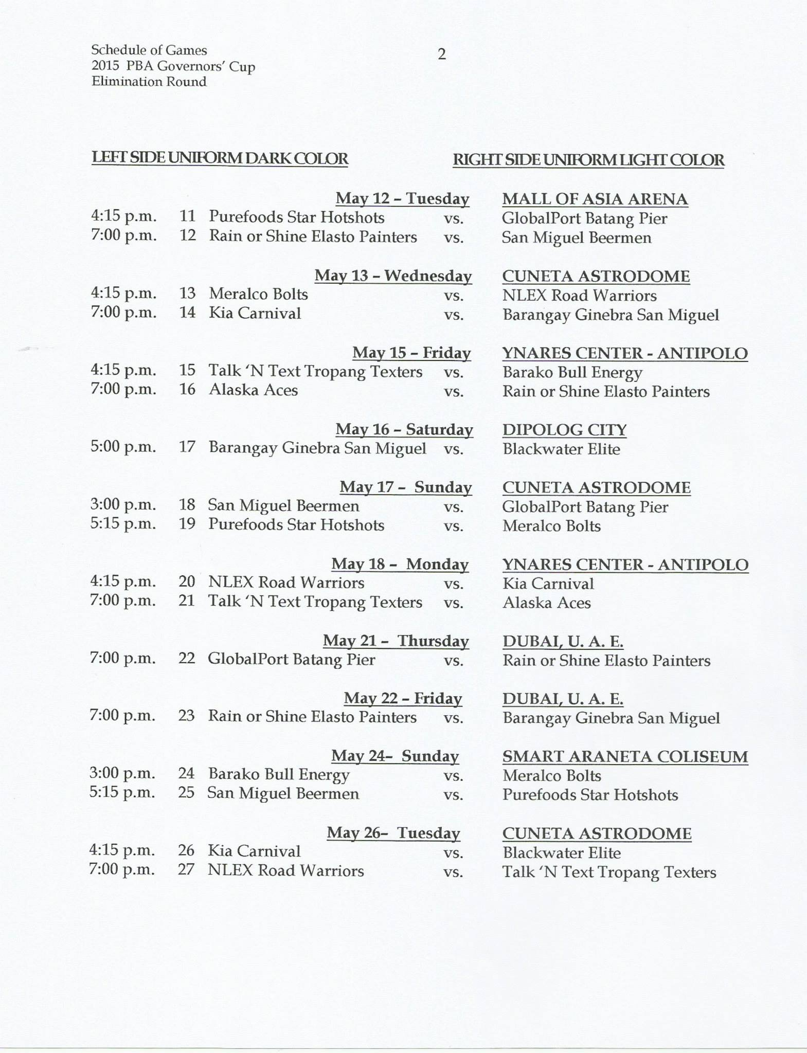 Schedule released for the 2015 Governors' Cup – SLAMonline