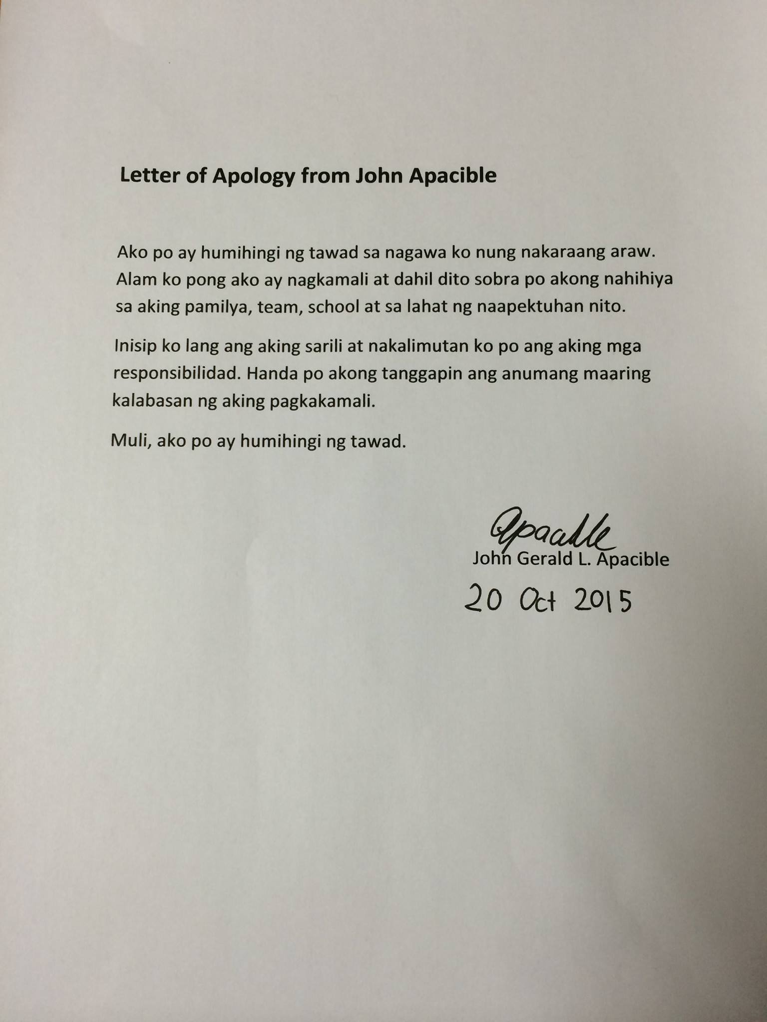 look  suspended ateneo forward john apacible writes letter