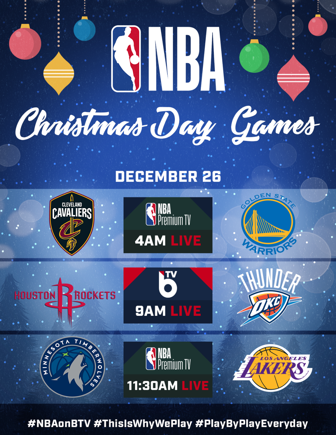 Nba Christmas Day Schedule.Nba Christmas Day Games On Btv And Nba Premium Slamonline