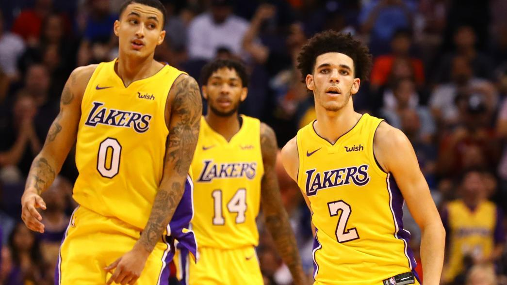 lonzo-ball-kyle-kuzma-brandon-ingram-yellow-unis