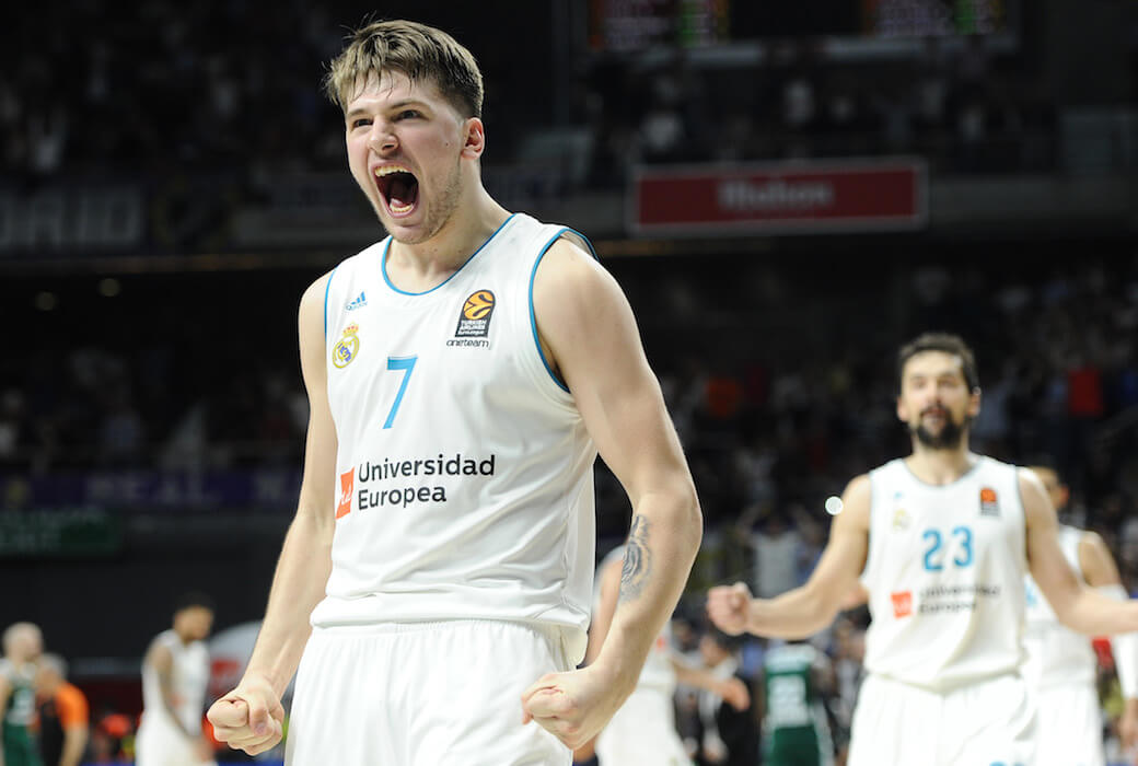 c97e8e7ae12 MADRID, SPAIN – APRIL 27: Luka Doncic, #7 guard of Real Madrid during the  2017/2018 Turkish Airlines Euroleague Play Off Leg Four between Real Madrid  v ...