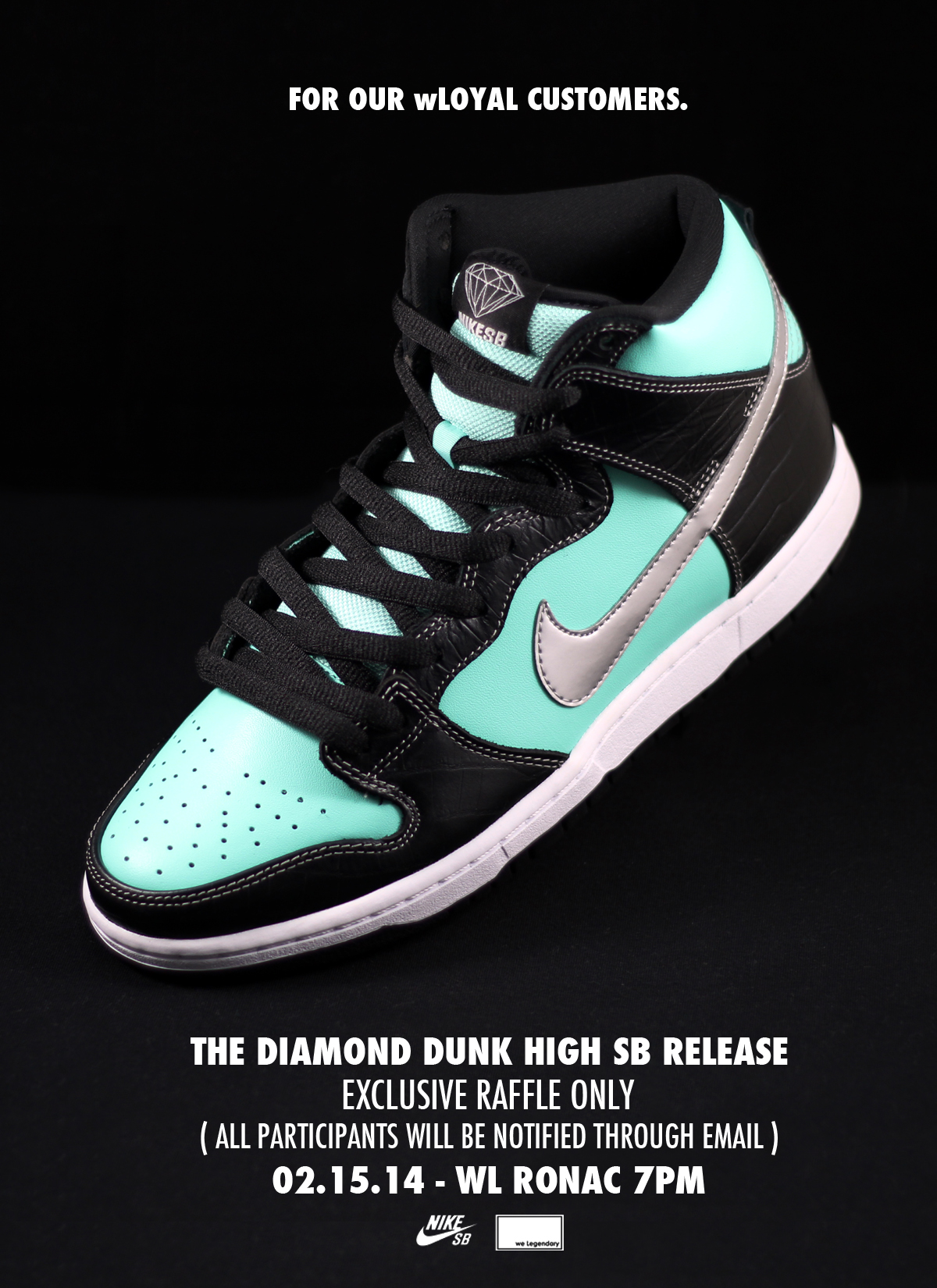new arrival 2474a 97399 weLegendary to release the Nike Diamond Dunk High SB ...