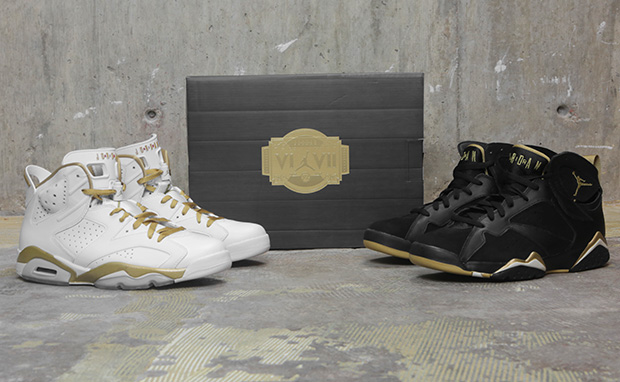 """wholesale dealer 12767 d5321 This Saturday, the Air Jordan 6 7 """"Gold Medal Pack"""" is coming. Comprised of  an Air Jordan 6 White Gold colorway and an Air Jordan 7 Black Gold colorway  this ..."""